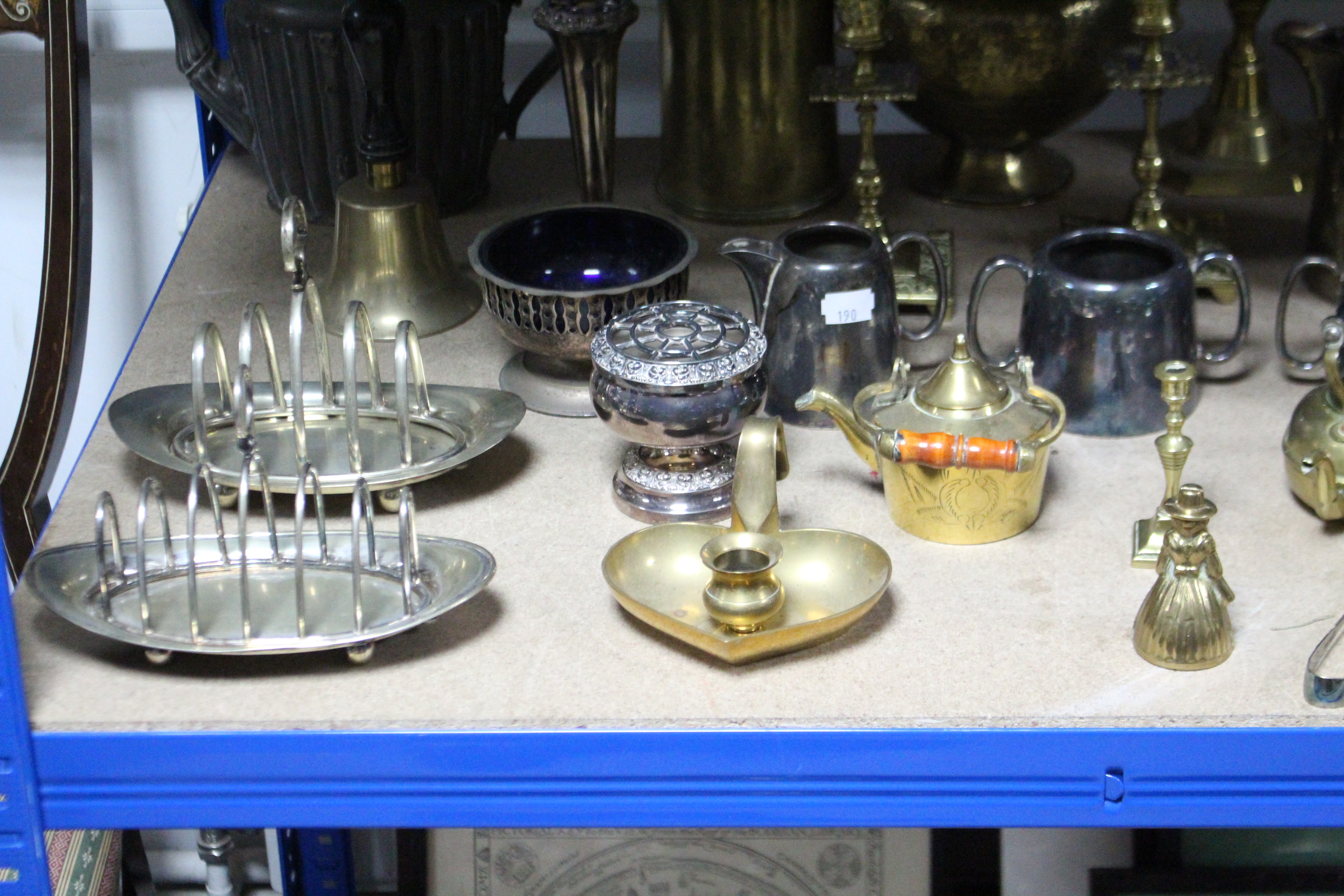 "Lot 190 - Two pairs of brass candlesticks, 10"", & 6"" high; & various other items of metalware & plated ware."
