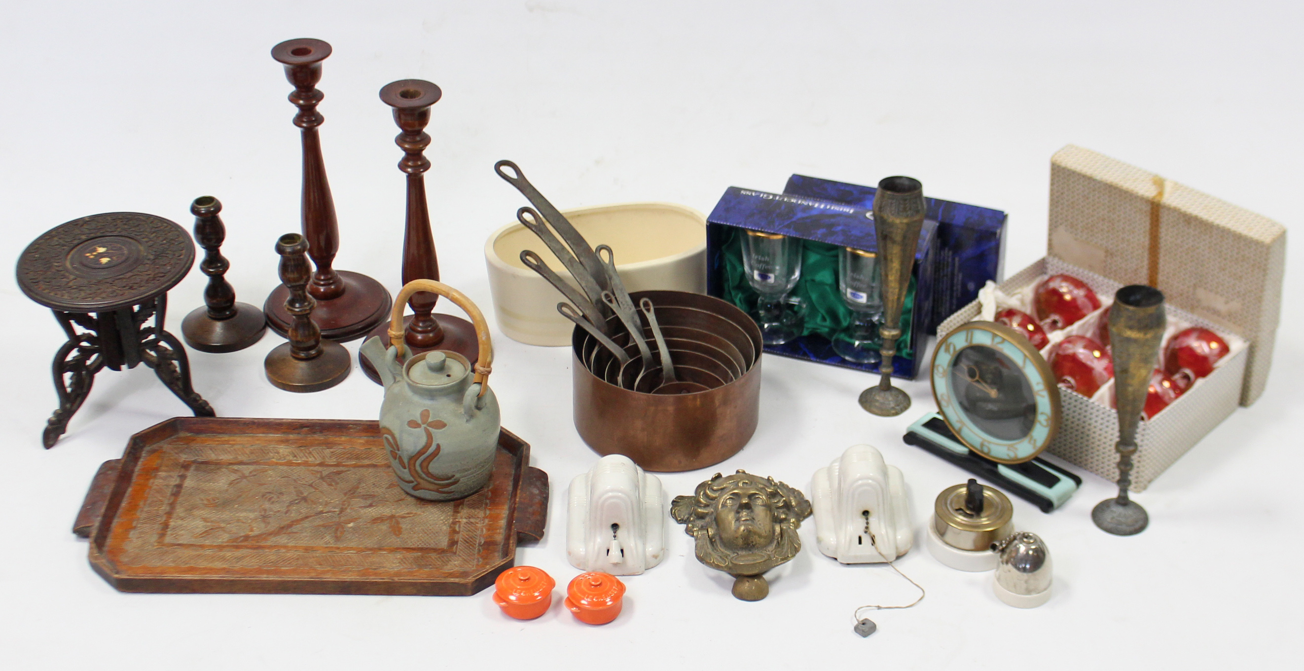 Lot 188 - A set of seven French vintage copper graduated saucepans; a Smith's Sectric mantel clock; two