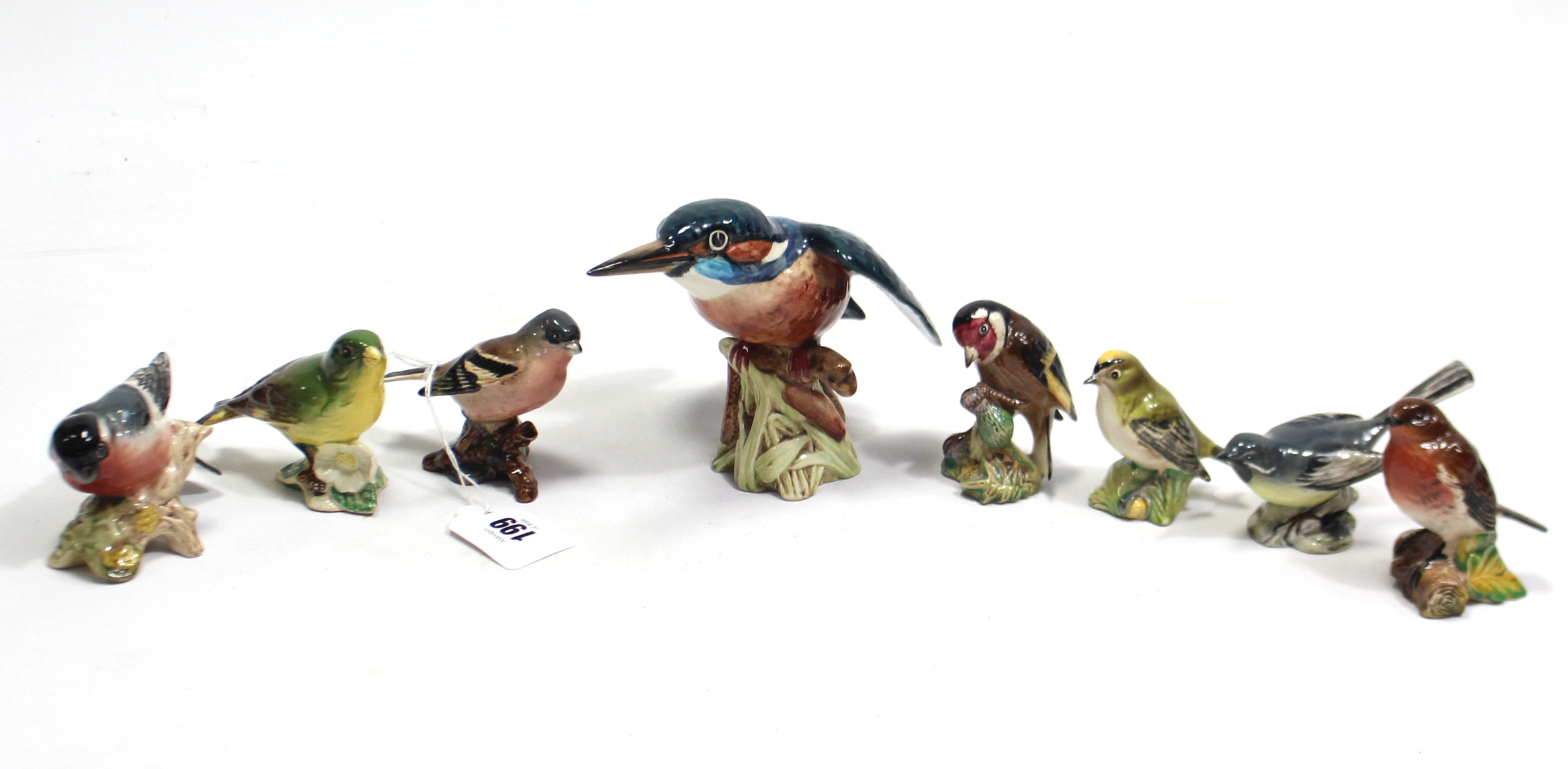 """Lot 199 - A Beswick large model of a Kingfisher (No. 2371), 5"""" high; together with seven other Beswick bird"""