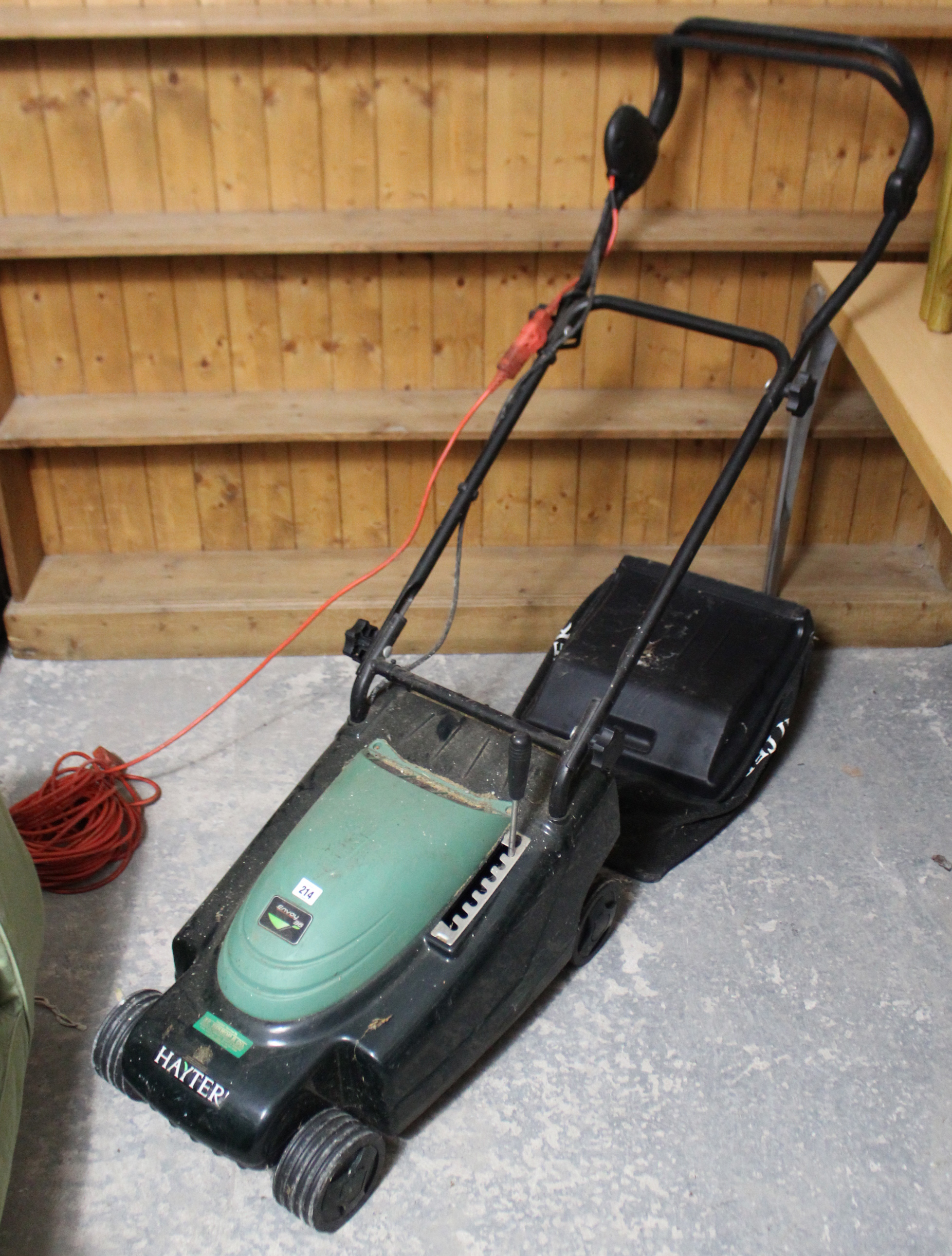 """Lot 214 - A Hayter """"Envoy 36"""" lawn mower with grass box."""