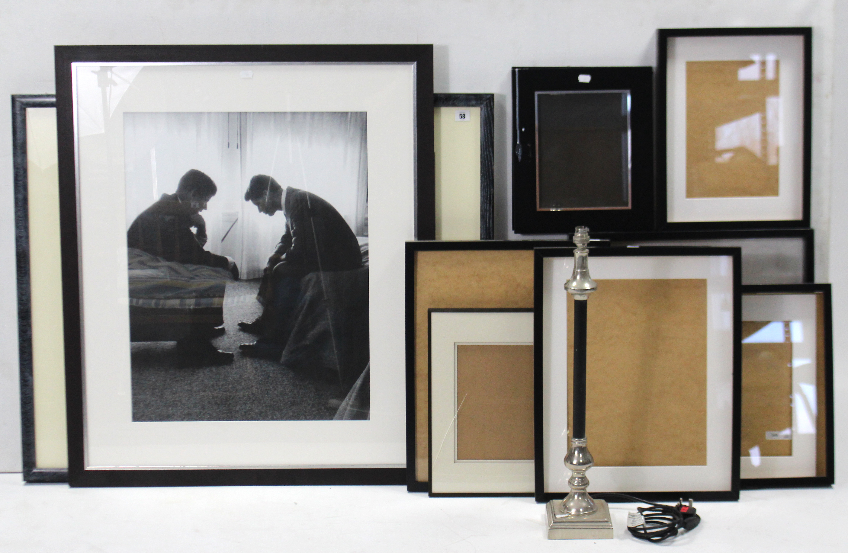 Lot 58 - A modern ceiling light fitting; a black-finish table lamp; & various decorative pictures & picture