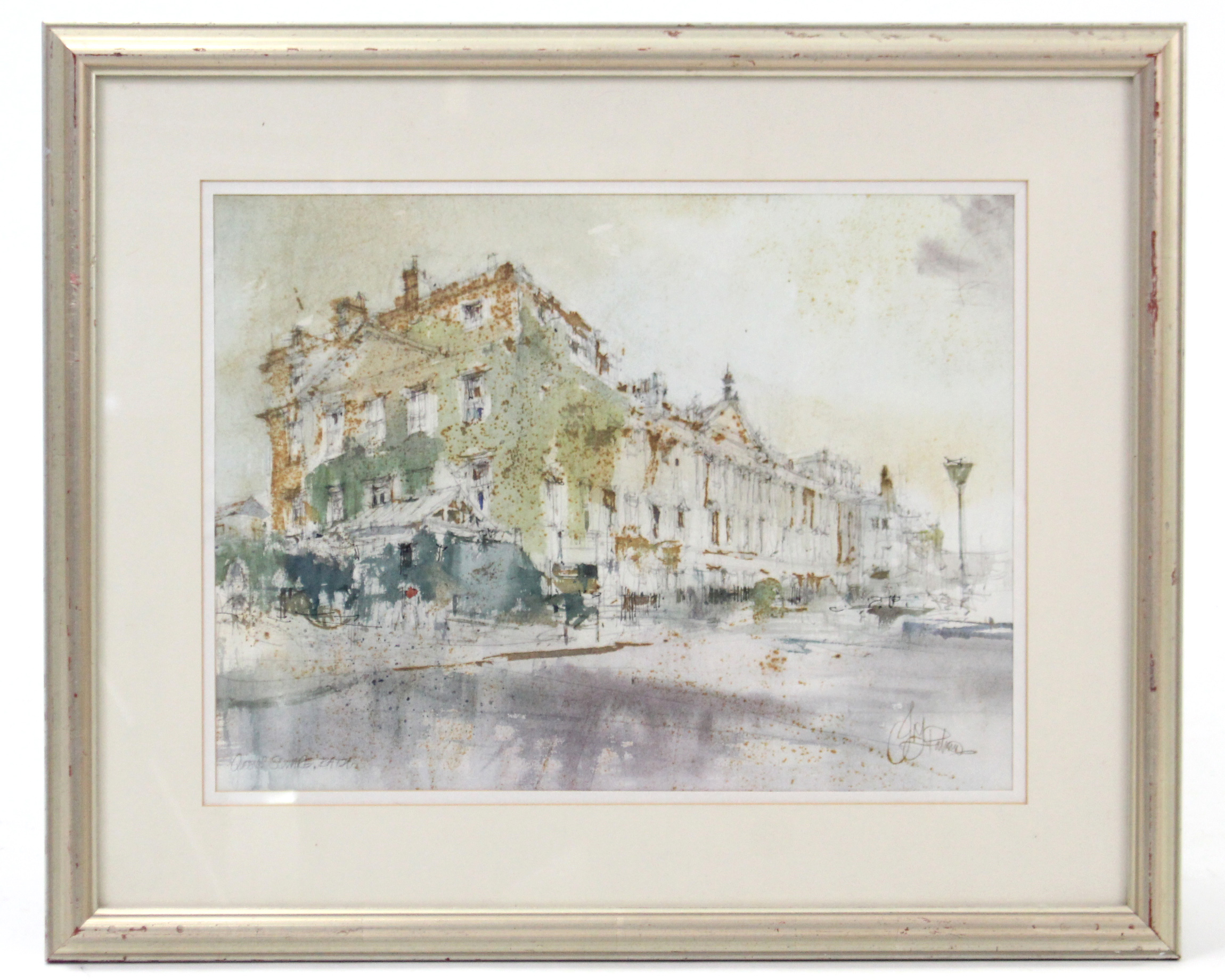 Lot 170 - JOHN FREDERICK PALMER (b. 1939, Bristol Savages). A view of the North side of Queen Square, Bath;