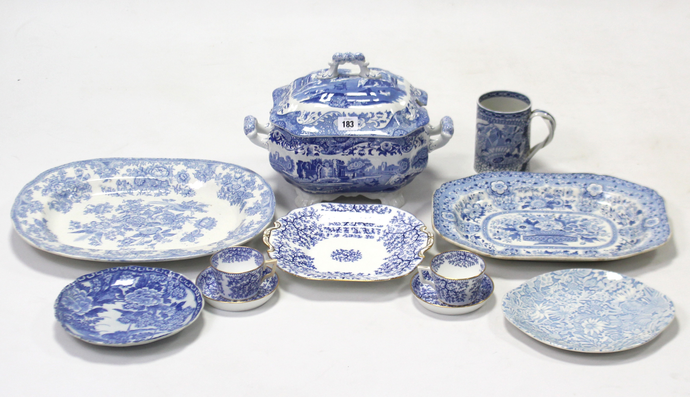 """Lot 183 - A Spode's blue & white """"Italian"""" pattern vegetable tureen, 10"""" wide; two blue & white china meat"""