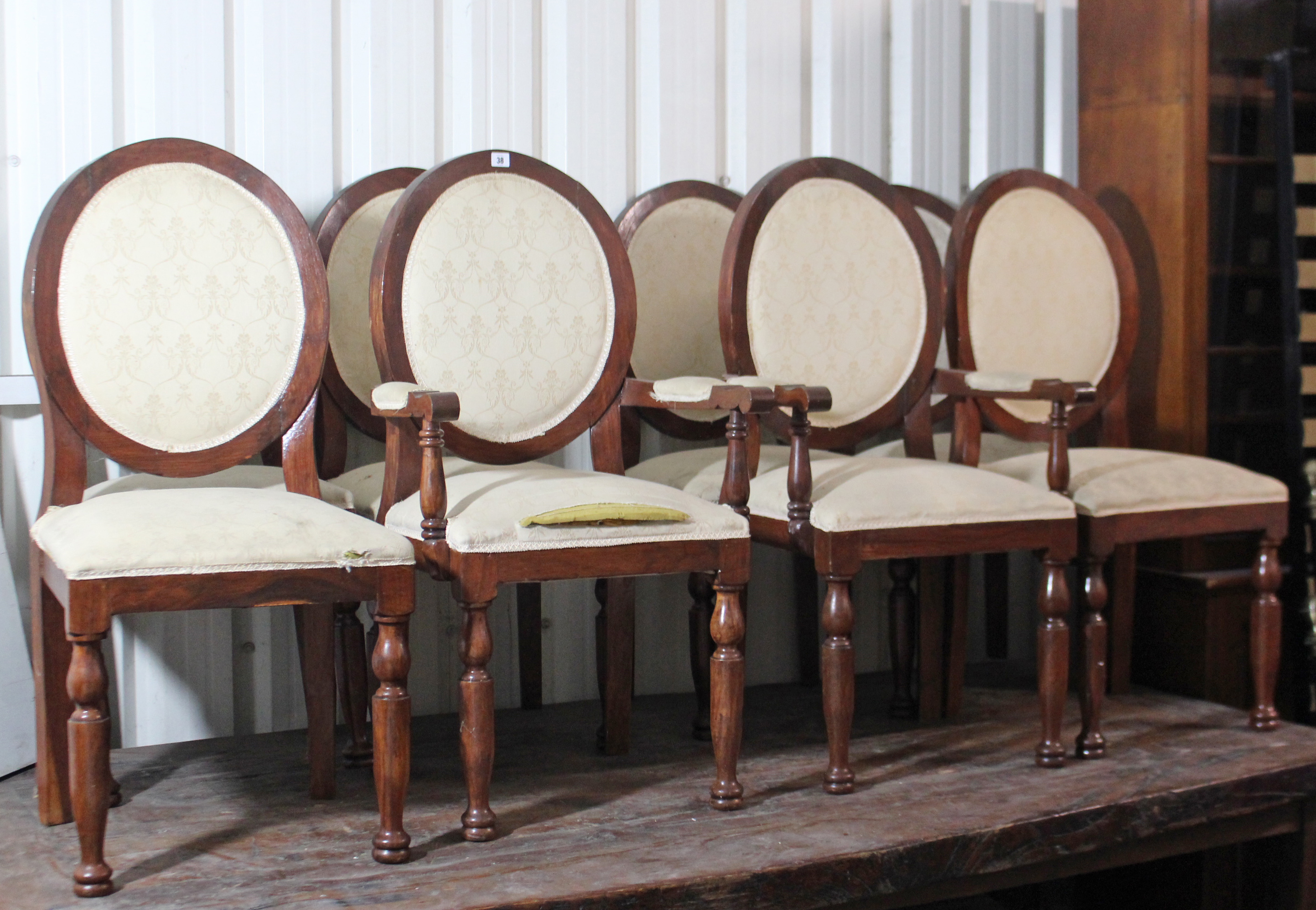 Lot 69 - A set of eight Victorian-style balloon-back dining chairs (including a pair of carvers), with padded