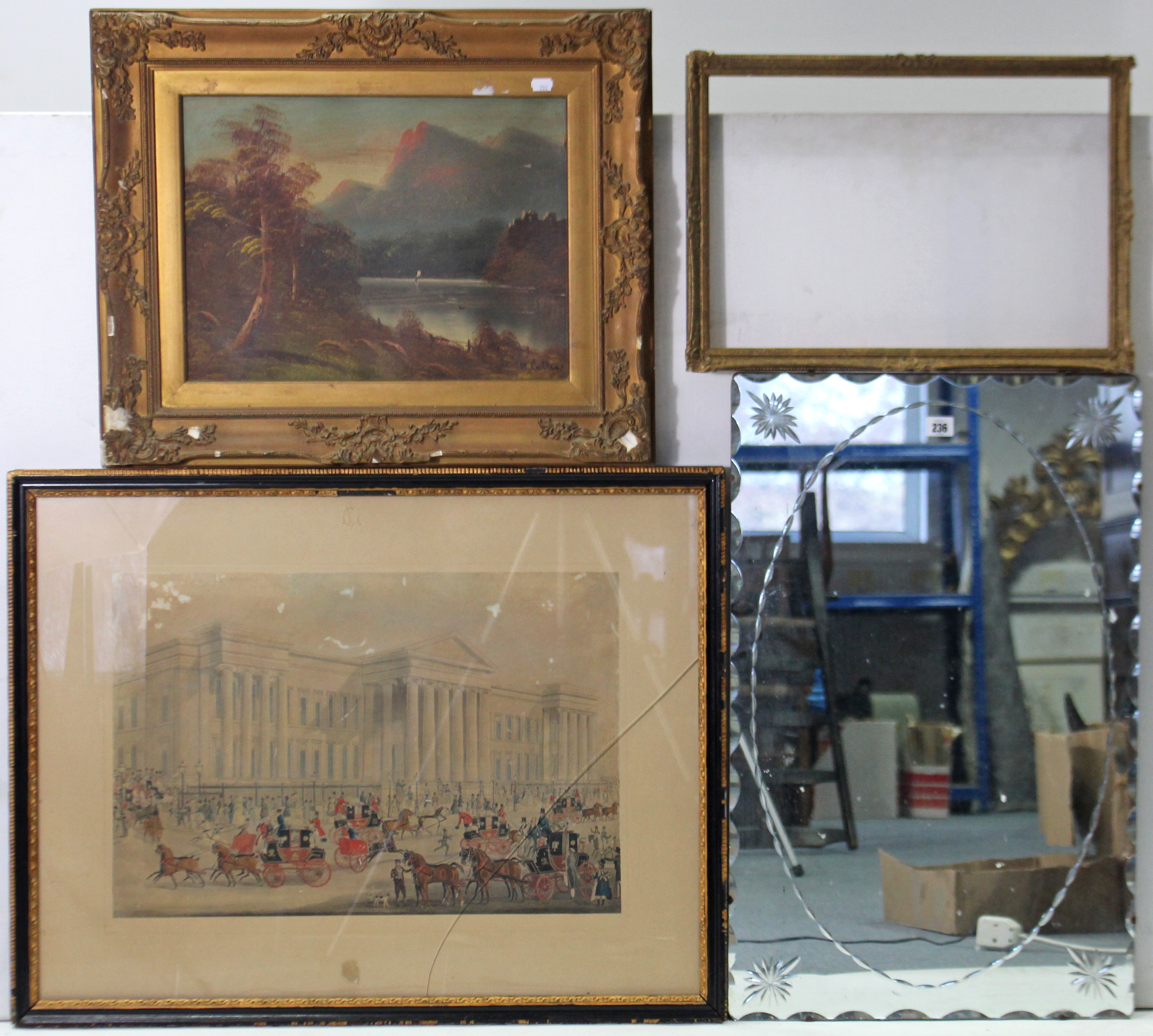 """Lot 236 - A large rectangular wall mirror, 30"""" x 29""""; two decorative pictures; & various picture frames."""