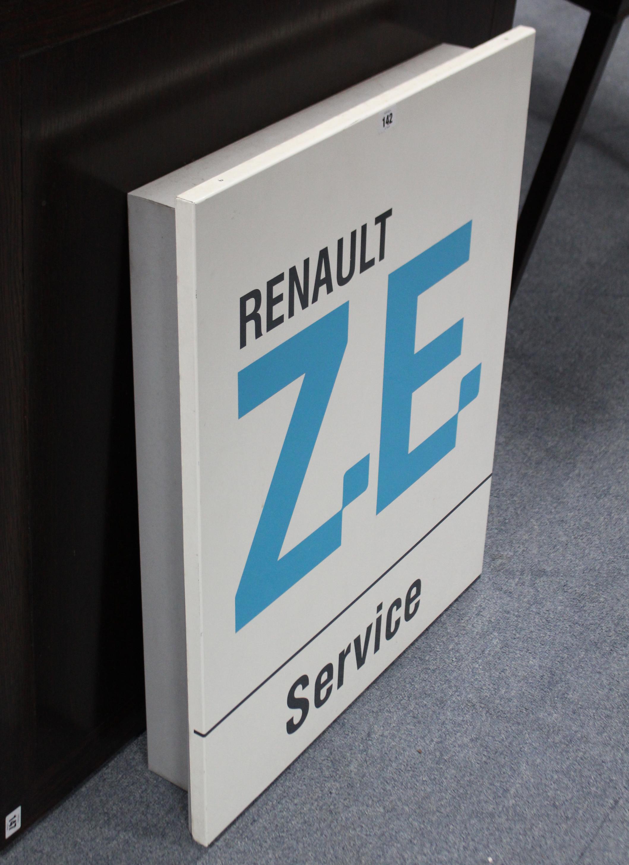 """Lot 142 - A modern enamelled rectangular sign """"RENAULT ZE Service"""", 29½"""" x 23½""""."""