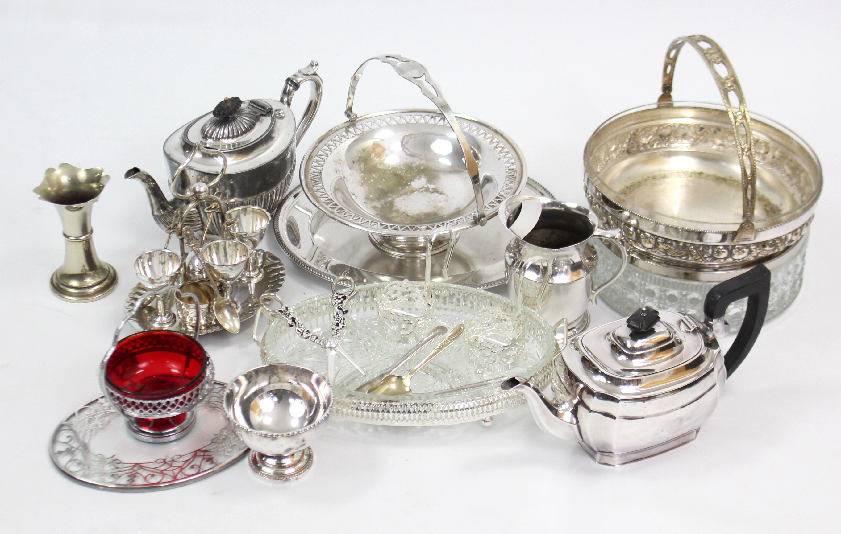 Lot 164 - Two silver plated teapots, & various other items of platedware.