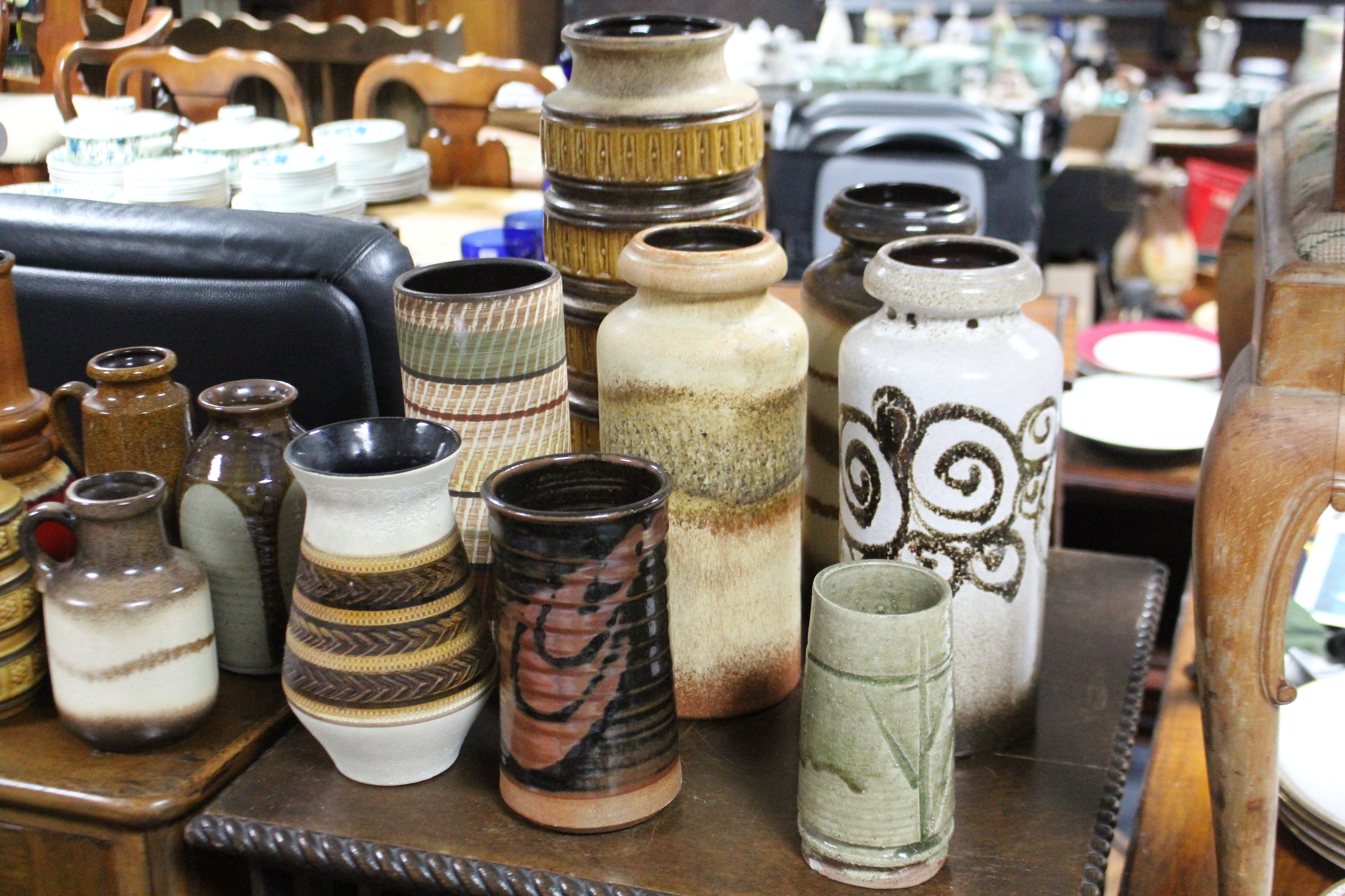 "Lot 163 - Seventeen various West Germany pottery vases, 12"" & 7½""."