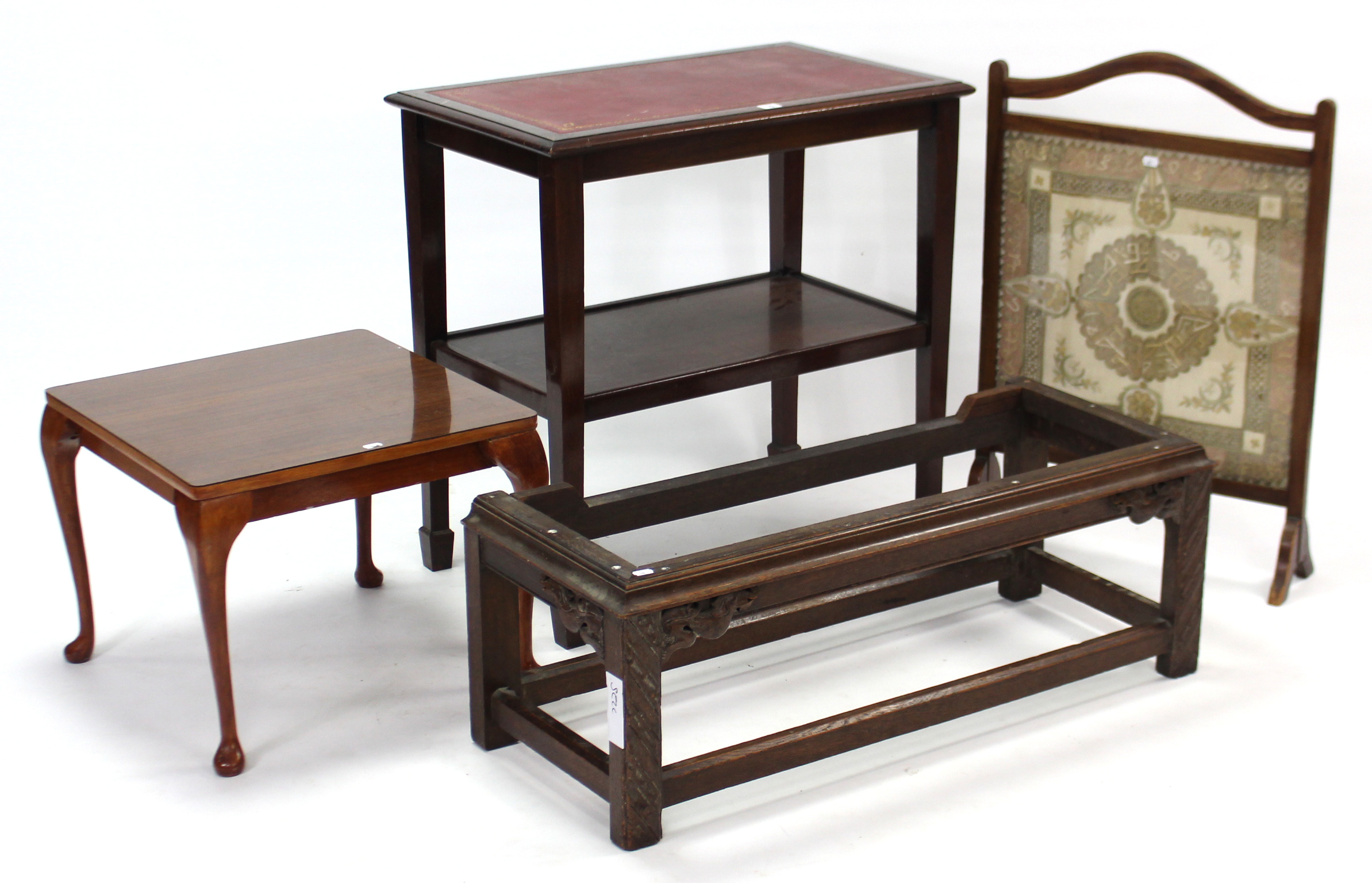 Lot 65 - A mahogany rectangular two-tier occasional table inset gilt-tooled crimson leather to the upper