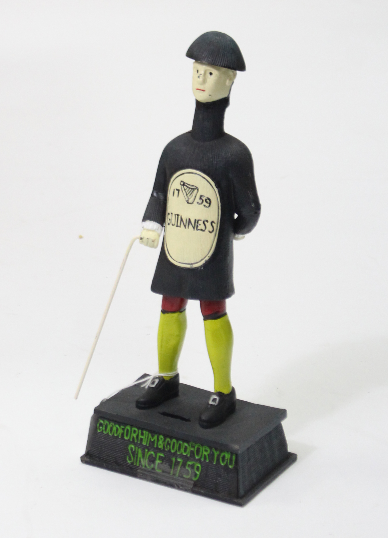 """Lot 75 - A reproduction painted cast-iron """"Guinness"""" advertising figure, 14¼"""" high."""