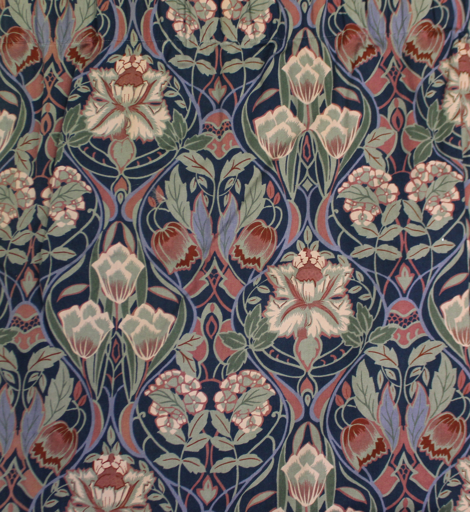 Lot 277 - Two pairs of Liberty-style lined & interlined curtains with all-over repeating multi-coloured floral