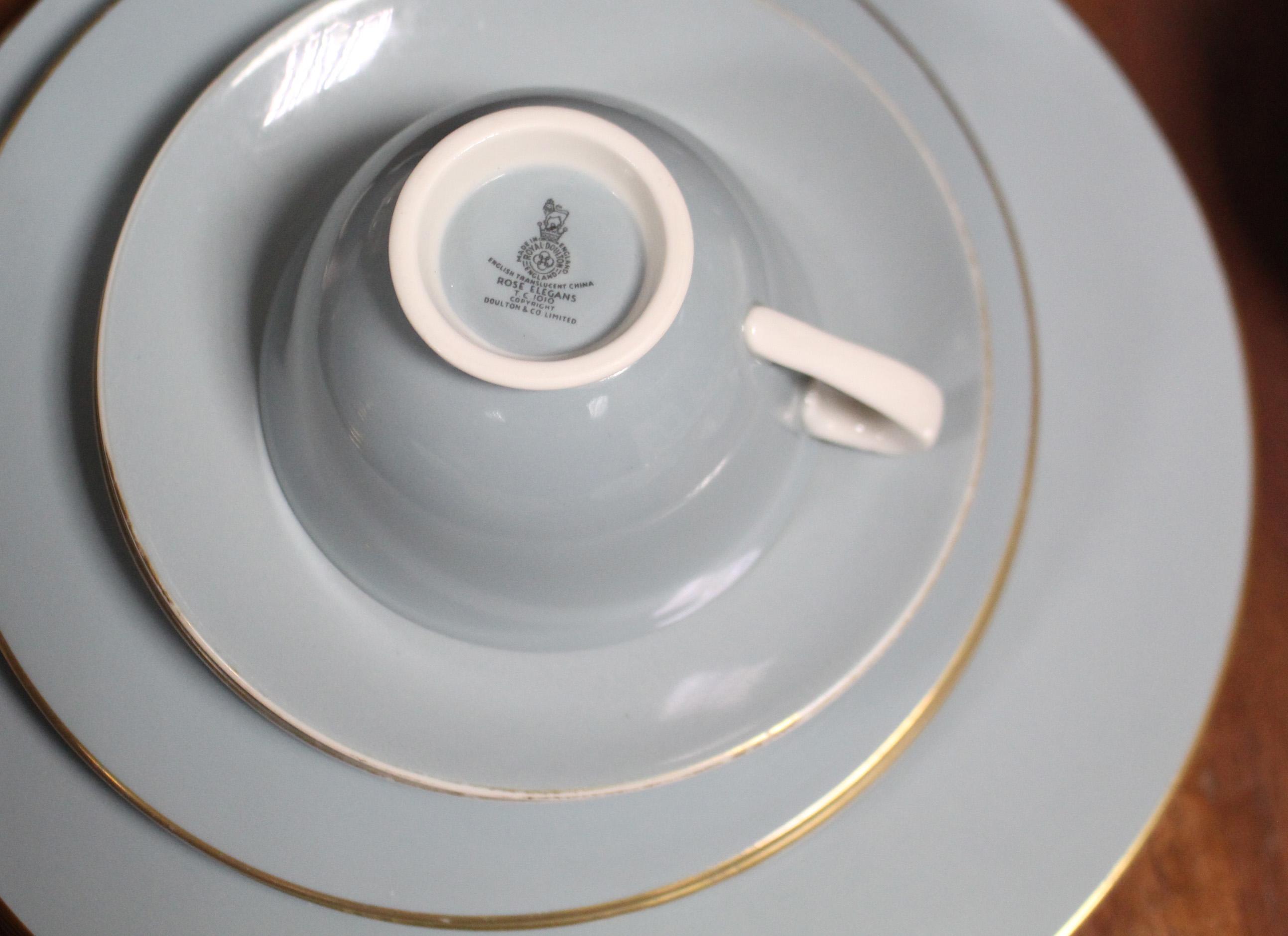 "Lot 125 - A Royal Doulton bone china ""Rose Elegans"" pattern thirty seven piece part dinner & tea service; &"