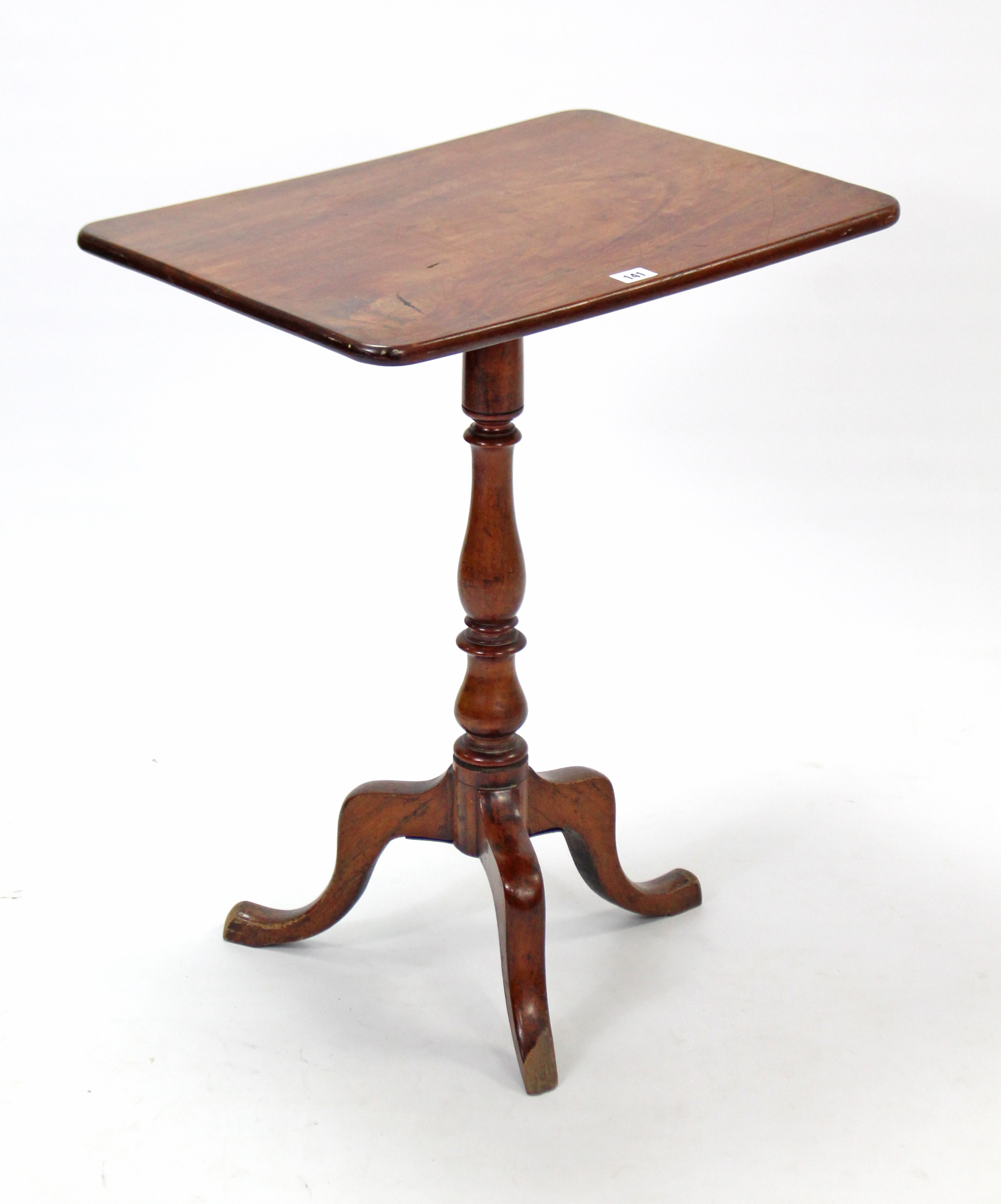 Lot 168 - A 19th century mahogany tripod table with rounded corners to the rectangular tilt-top, & on
