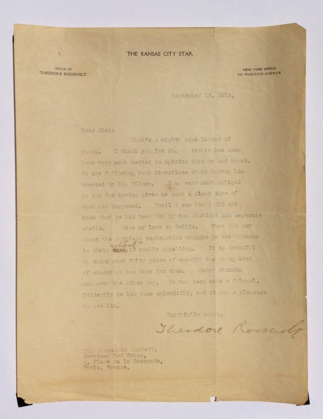 Lot 6 - Theodore ROOSEVELT (1858-1919). An important 1 page typed letter signed, to Dr. Alexander Lambert