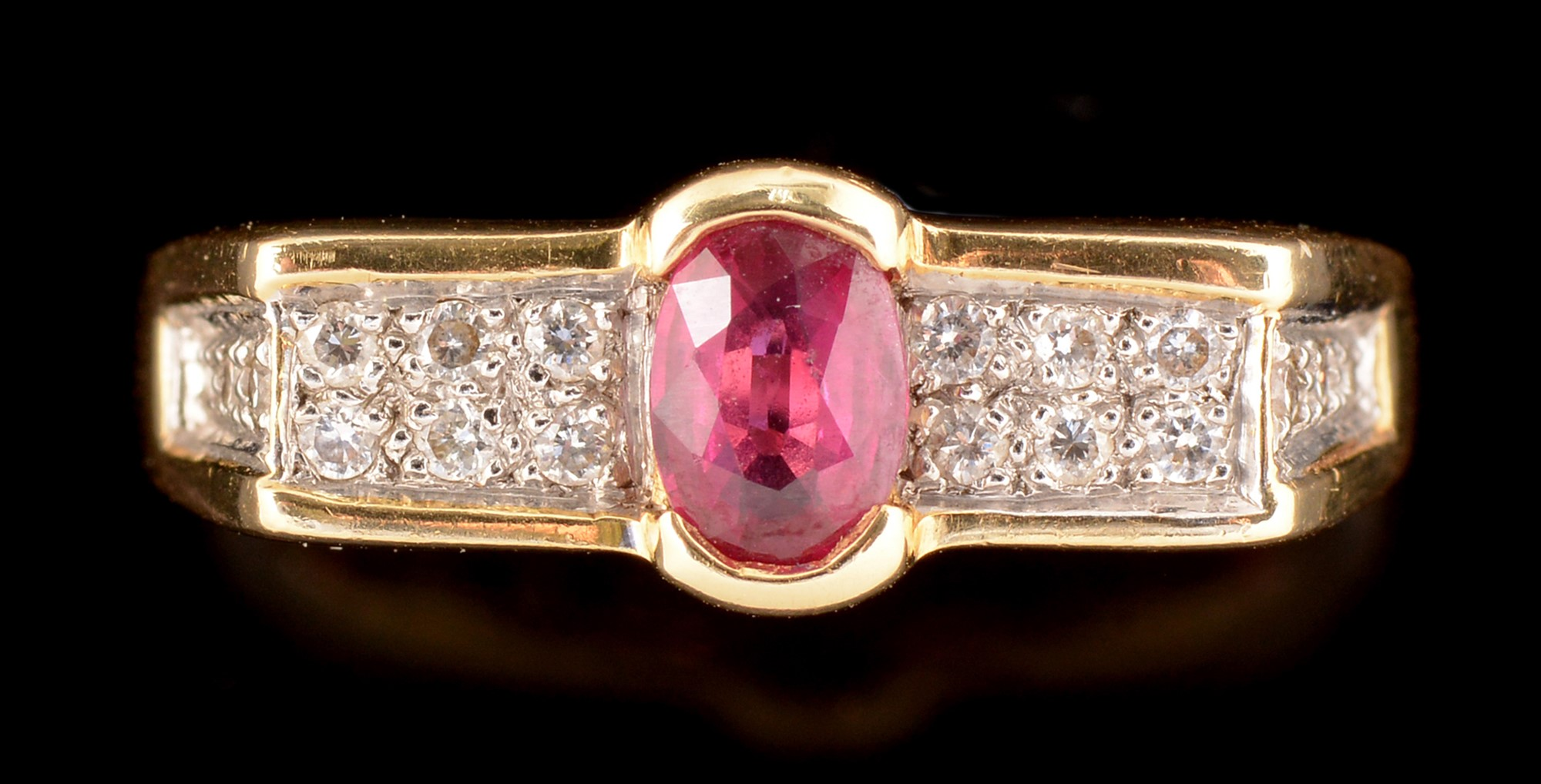 Lot 483 - Ruby and diamond ring