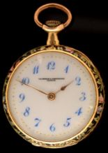 Lot 478 - Vacheron & Constantin: an 18k gold and enamelled lady's crown wind fob watch.