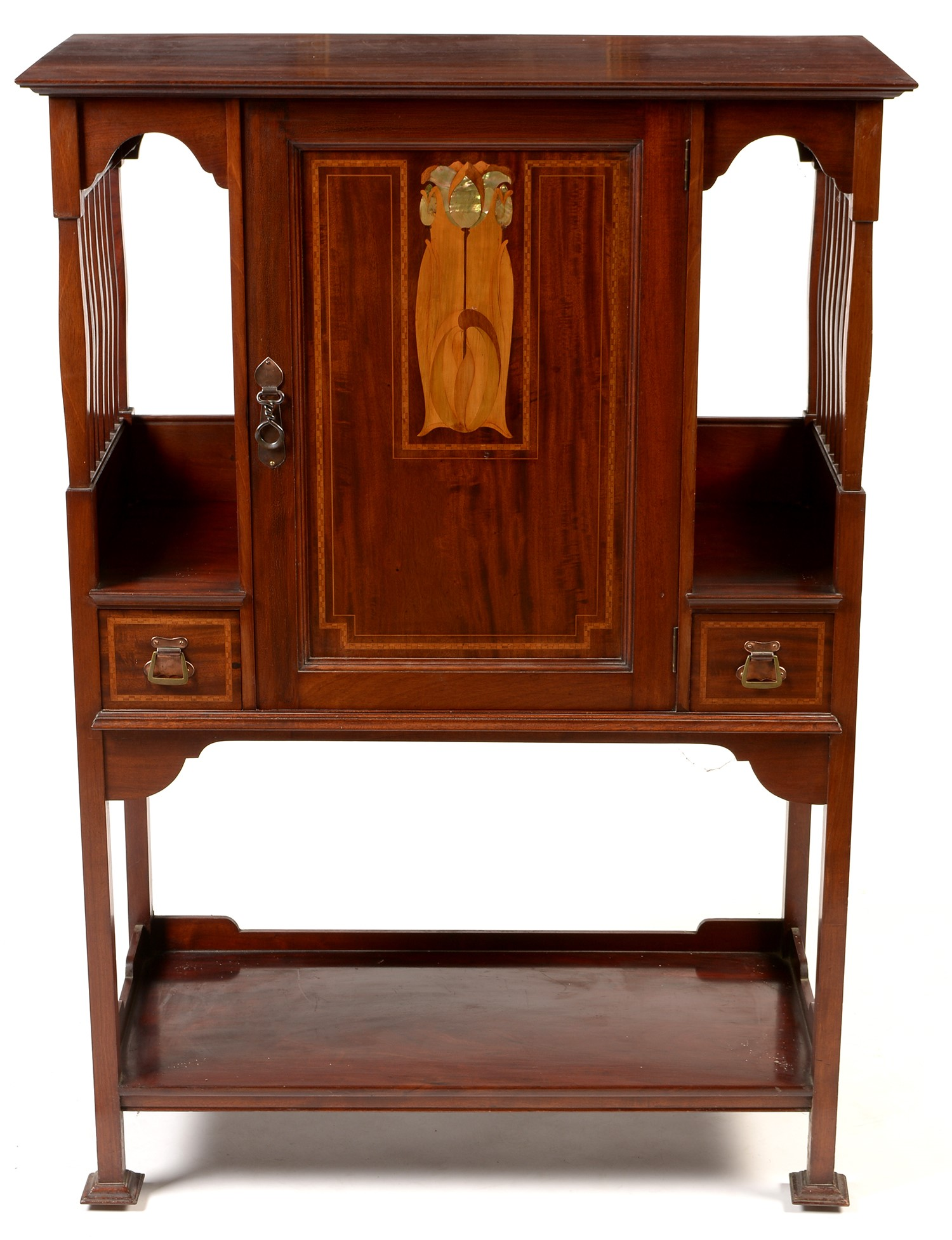 Attributed to Shapland & Petter: an Art Nouveau inlaid mahogany music cabinet.