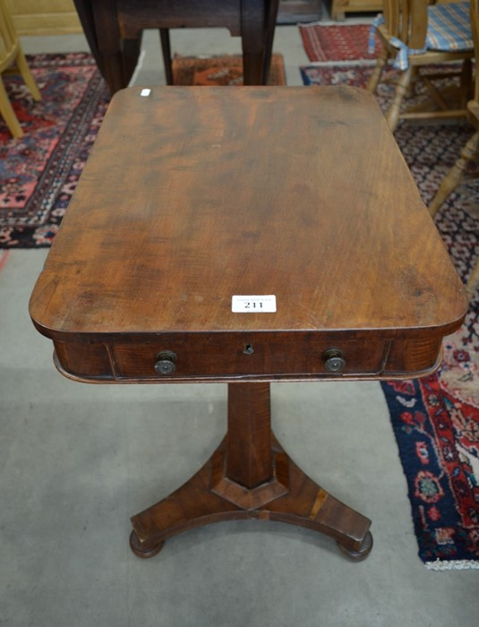 Lot 33 - Victorian mahogany single drawer side table raised on a tapering column and triform base
