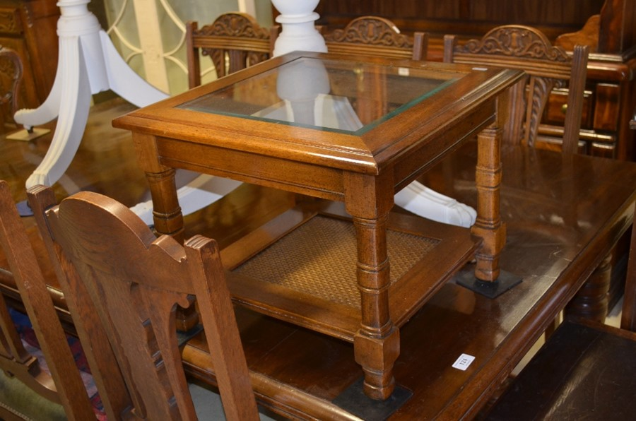 Lot 29 - A square mahogany glass-top side table