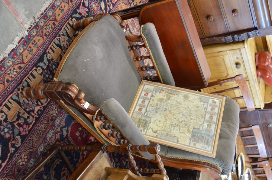 Lot 13 - A Victorian button backed mahogany framed library armchair