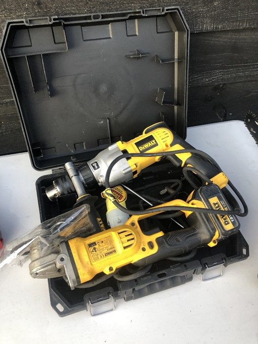Lot 50D - Police recovered items - A Dewalt DCG412 cordless angle grinder to/w a 110v Dewalt SDS drill with