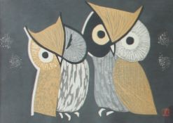 Kaoru Kawano (Japanese, 1916 - 1965) Two Owls A woodblock print Seal mark 25 x 36.