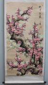 20th Century Chinese Trees in Blossom Watercolour on a scroll Seal marks and text 122 x 61cm