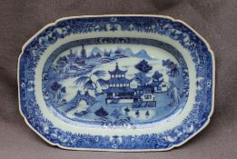 A 19th century Chinese porcelain plate of rectangular form,