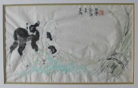 20th century Japanese Two goat kids, grazing Watercolour Seal mark and text 25.