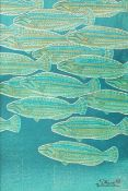 Shiro Kasamatsu (Japanese 1898 - 1991) Fish Colour woodblock print 36 x 24cm