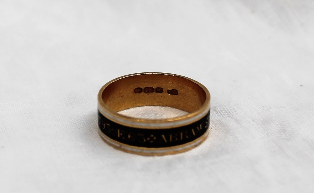 Lot 50 - An 18th century silver gilt, black and white enamel mourning ring, for Abraham Saunders, A.R.M. O.B.