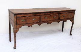 An 18th century oak dresser base,