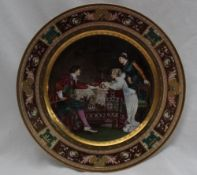 """A Vienna style porcelain cabinet plate, titled """"A Question"""","""