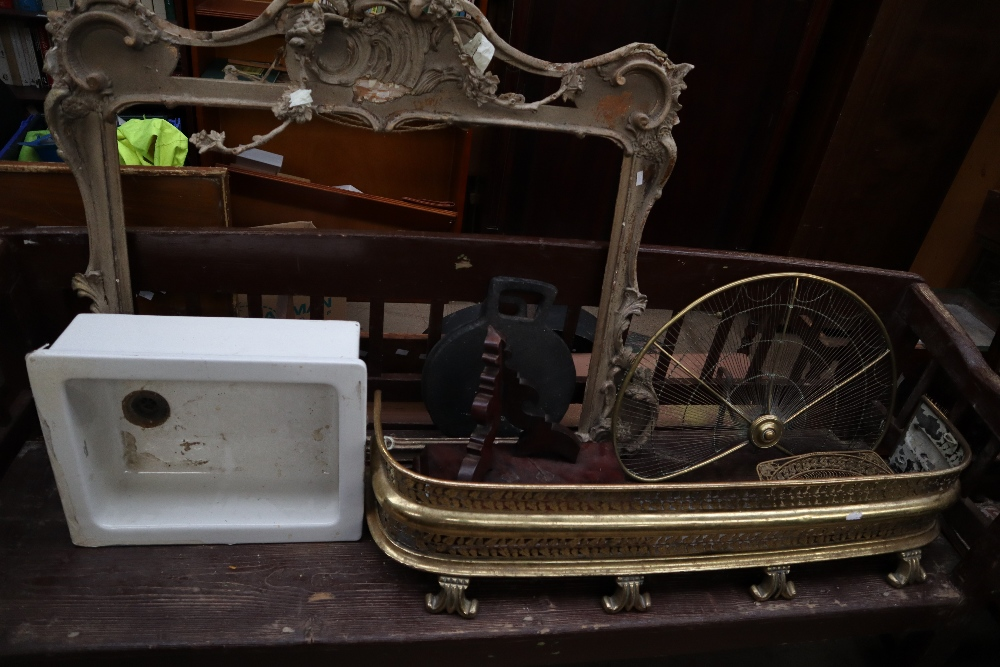 Lot 205 - A brass fire guard together with a brass fan fire screen, a porcelain sink, picture frame,