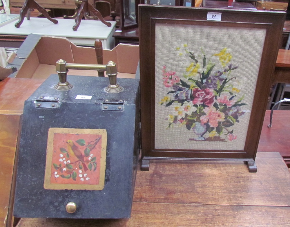 Lot 97 - An Edwardian painted and brass coal purdonium together with a small woolwork fire screen