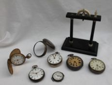 A William IV silver pair cased open faced pocket watch, the white enamel dial with Roman numerals,