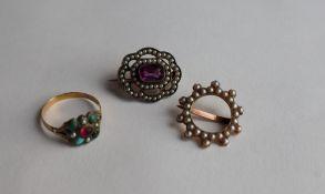 A seed pearl brooch,