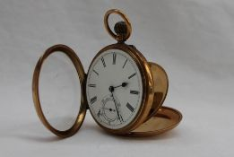 A late Victorian 18ct yellow gold open faced keyless wound pocket watch,