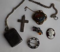 A Victorian silver vesta case, together with a chain, silver cross, moonstone brooch,