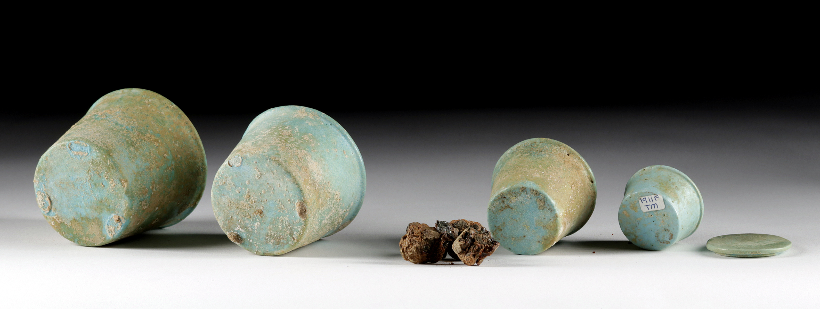 Lot 3b - 4 Egyptian Faience Kohl Jars + Original Kohl