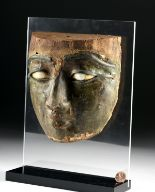 Lot 4d - Egyptian Stuccoed Mask -Stone Eyes, Bronze Brows & Lids
