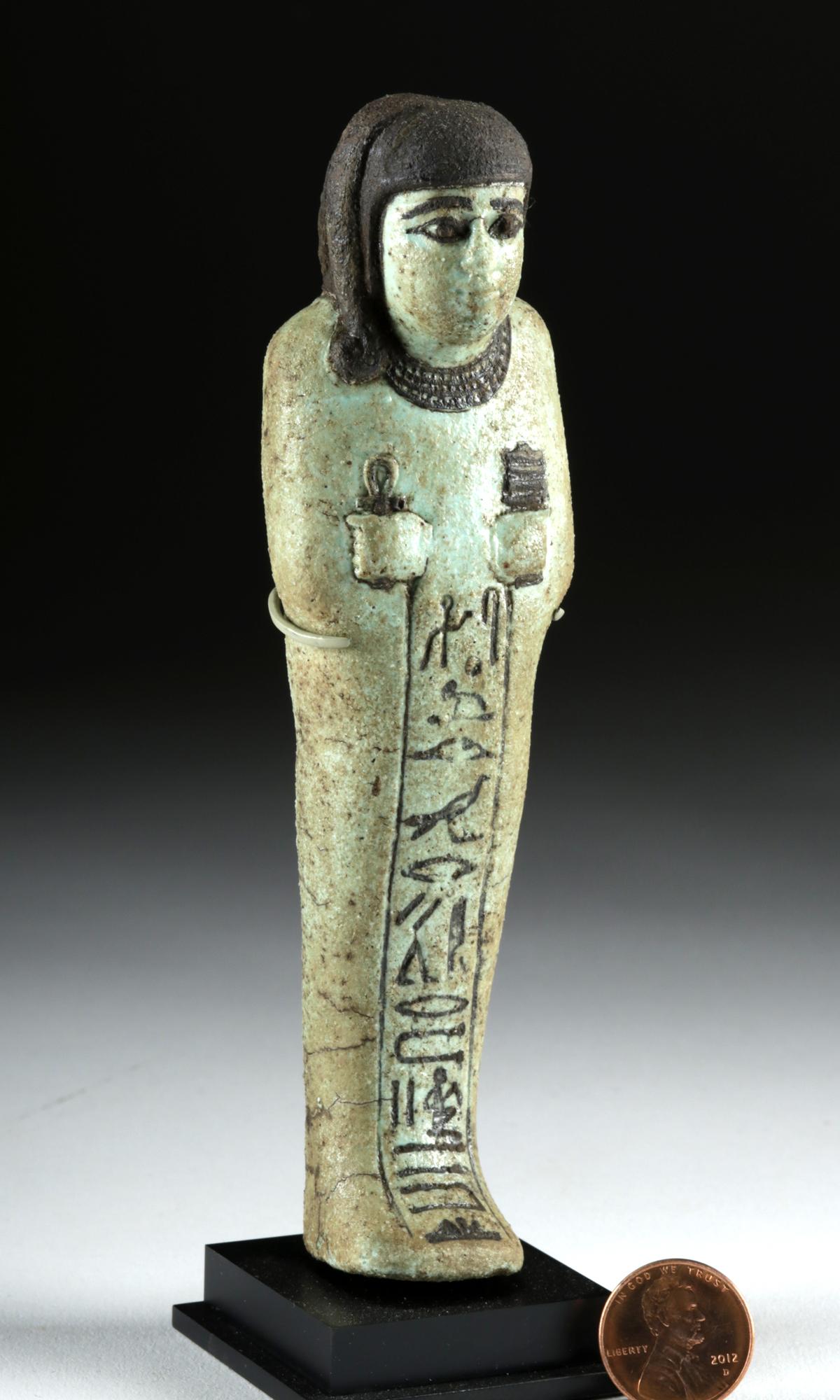 Lot 6a - Egyptian New Kingdom Faience Ushabti for Hori