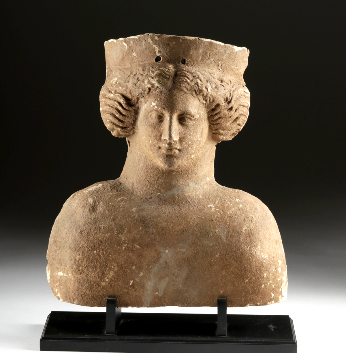Lot 20d - Large Archaic Greek Terracotta Protome - Goddess