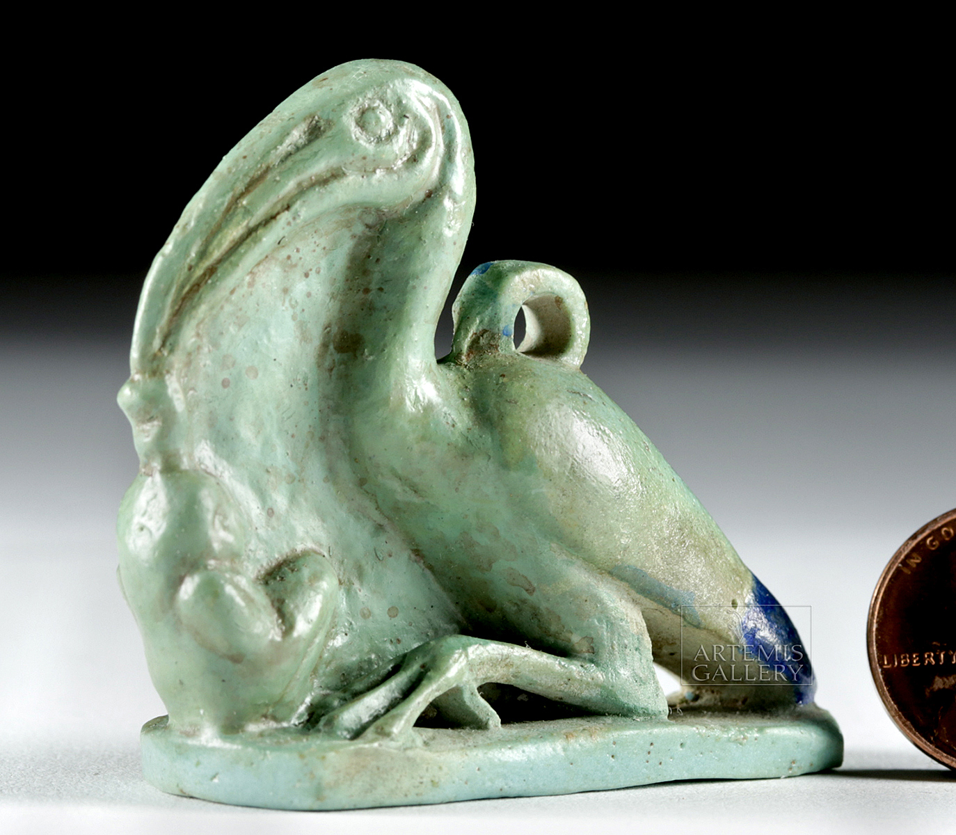Lot 4 - Egyptian Faience Amulet - Ibis w/ Maat