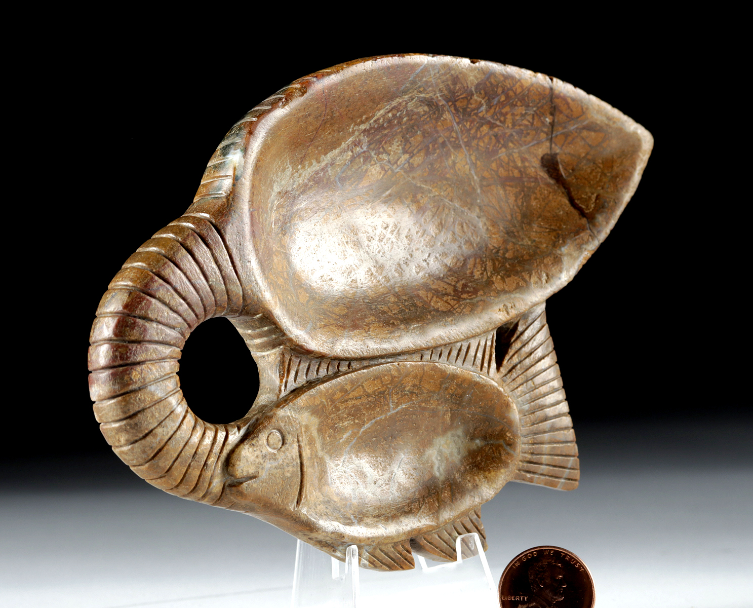 Lot 2a - Egyptian Steatite Cosmetic Dish - Double Fish