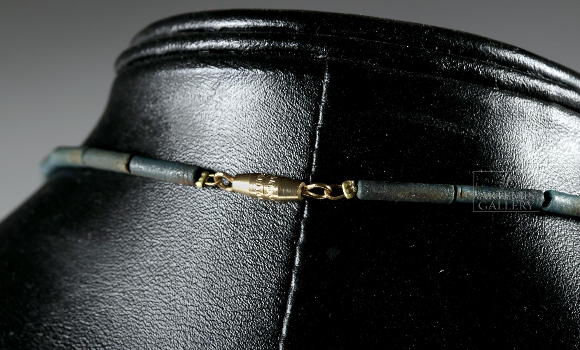 Lot 14a - Egyptian Faience, Lapis Lazuli, & Quartz Poppy Necklace