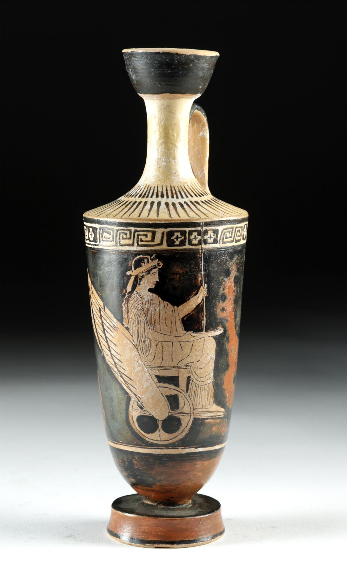 Lot 27 - Greek Attic Red-Figure Lekythos Demeter Winged Chariot