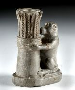 Lot 3c - Egyptian Stone Kohl Box - Baboon & Papyrus / Palm