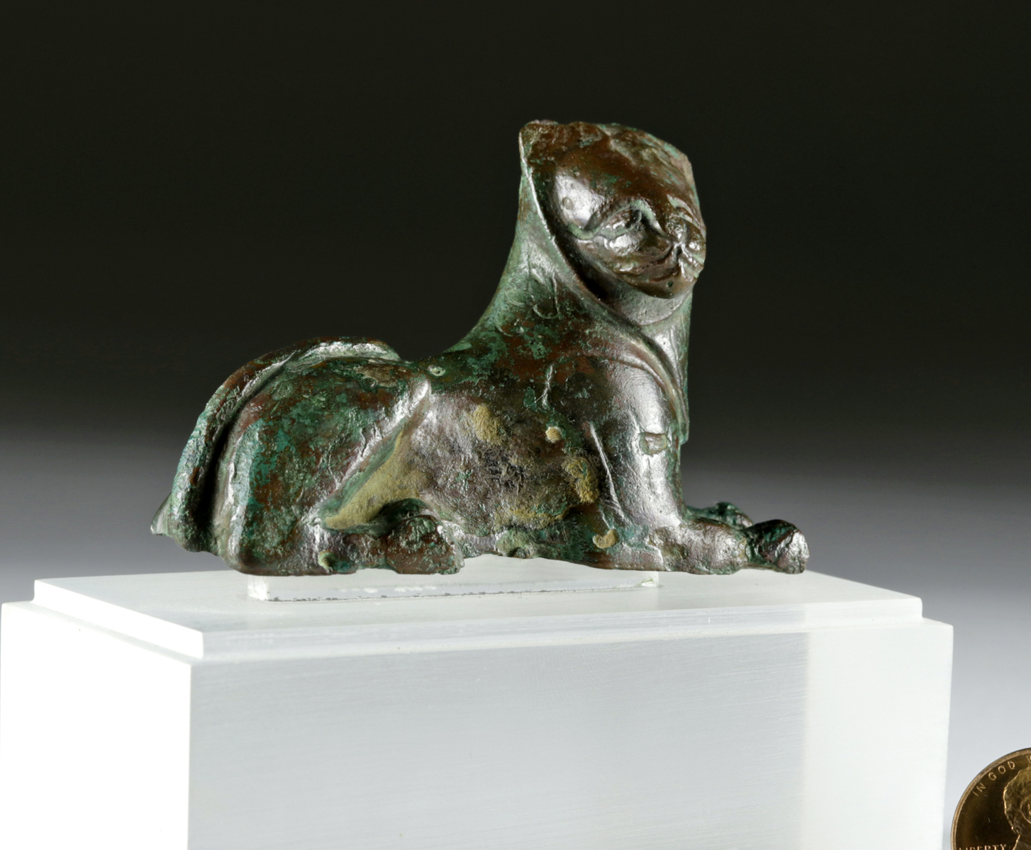 Lot 19a - Greek Archaic Bronze Lion, ex-Leo Mildenberg