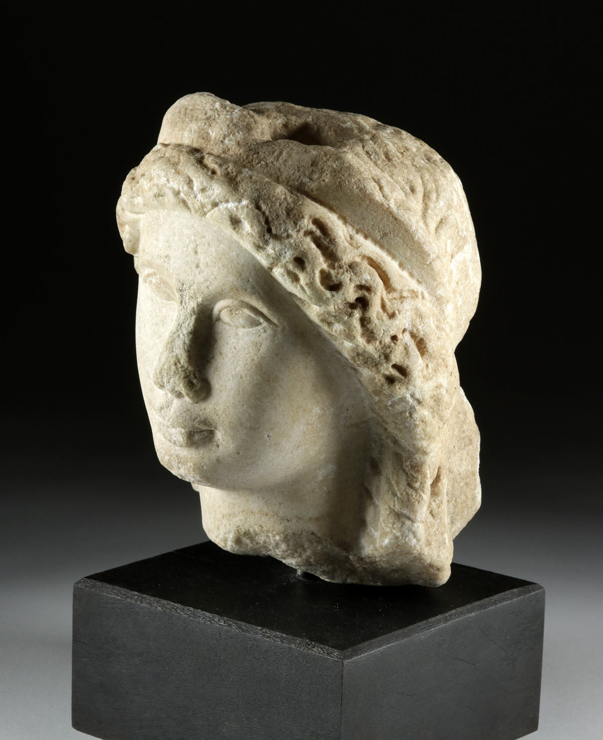 Lot 19 - Romano-Egyptian Marble Head, ex-Sotheby Parke-Bernet
